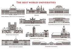 Set Of Isolated University And Institute, College Royalty Free Stock Photos