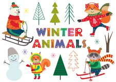 Free Set Of Isolated Winter Fun With Animals Part 1 Royalty Free Stock Photo - 129380675