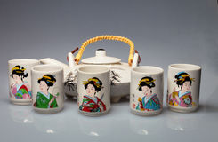 Set Of Japanese Cups For Alcohol Stock Image