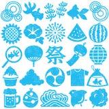 Set Of Japanese Summer Icons. Stamp Set. Stock Photos