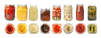 Free Set Of Jars With Pickled Vegetables And Mushrooms On Background. Banner Design Stock Photography - 184277202