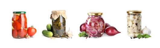 Free Set Of Jars With Pickled Vegetables On Background. Banner Design Stock Image - 184277181