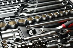 Free Set Of Keys Silver Chrome Wrench And Spanner, Kit With Ratchet Handle And Sockets, Tools For Repairing Car In Case Stock Image - 190987191