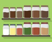 Free Set Of Kitchen Jars With Different Content. Kitchen Jars On The Shelves. Vector Illustration. Stock Photo - 108175130