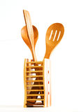 Set Of Kitchen Utensils Made Of Bamboo Stock Photography