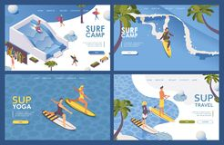Free Set Of Landing Pages Isometric For Surfing School. Long Wave, Palms. Concept Extreme Sport Outdoor Scene. Tropical Banners Good Royalty Free Stock Image - 191311446