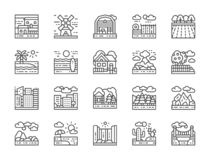 Set Of Landscape Line Icons. Bridge, Desert, Waterfall, Beach, Forest And More. Stock Photos