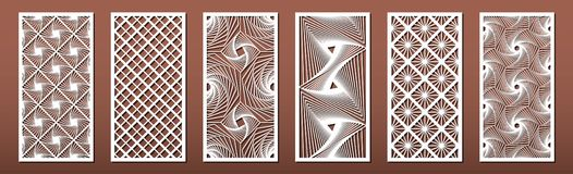 Free Set Of Laser Cut Templates With Geometric Pattern.  For Metal Cutting, Wood Carving, Panel Decor, Paper Art, Stencil Or Die For Royalty Free Stock Photos - 162979878
