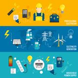 Set Of Line Banner Energy Generation Royalty Free Stock Photos