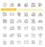 Set Of Line Icon Concept Travel Royalty Free Stock Photos