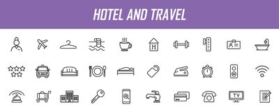 Free Set Of Linear Hotel Icons. Travel Icons In Simple Design. Vector Illustration Royalty Free Stock Photo - 182129095