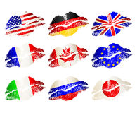 Set Of Lips Flags Royalty Free Stock Photo