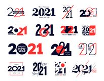 Free Set Of Logo 2021 Happy New Year Signs. Big Collection Of 2021 Happy New Year Symbols. Greeting Card Artwork, Brochure Template. Stock Image - 186033251