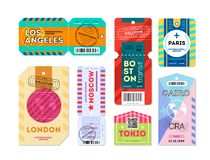 Free Set Of Luggage Label Tag Registered. Royalty Free Stock Image - 125486486