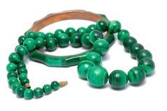 Set Of Malachite Beads And Bracelet Royalty Free Stock Photo