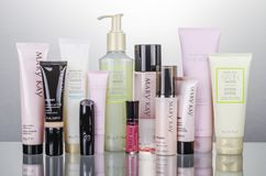 Free Set Of Mary Kay Cosmetics Isolated On Gradient Background. Royalty Free Stock Image - 162536496