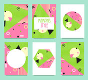Set Of Memphis Style Cards With Geometric Elements. Stock Photo
