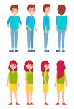 Set Of Men And Woman Front Back And Side View Royalty Free Stock Photos