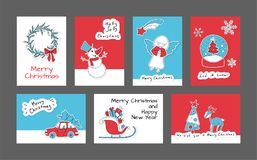 Free Set Of Merry Christmas And Happy New Year Cards Royalty Free Stock Photography - 104260887