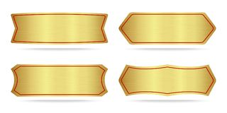 Set Of Metallic Gold Name Plate Stock Photo