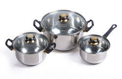 Set Of Metallic Pan Royalty Free Stock Photos
