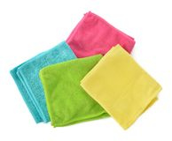 Set Of Microfiber Cleaning Cloths Isolated On White. Stock Photography