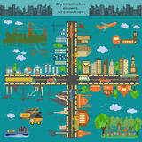 Set Of Modern City Elements For Creating Your Own Maps Of The Ci Stock Photography