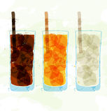 Set Of Multi-colored Glass Cup Stains. Royalty Free Stock Image