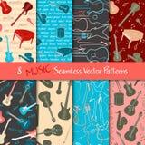 Set Of Musical Seamless Patterns Stock Photo