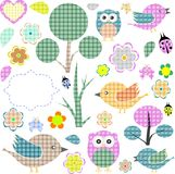 Set Of Nature Textile Stickers. Vector Stock Photography