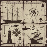 Set Of Nautical Design Elements Royalty Free Stock Photography