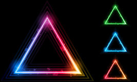 Set Of Neon Laser Triangle Border Royalty Free Stock Images