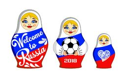 Set Of Nesting Dolls With The Inscription Welcome To Russia, 2018 And Soccer Ball. Royalty Free Stock Photo