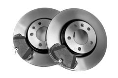 Set Of New Brake Discs. Isolate On White. Royalty Free Stock Photo