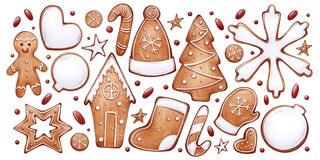 Free Set Of New Year's Gingerbreads And Candies. Royalty Free Stock Images - 200204069