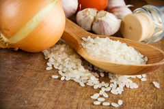 Set Of Nutrition And Healthy Food On Texture Royalty Free Stock Photos