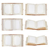 Set Of Old Open Photo Albums Isolated On White Background. Stock Images