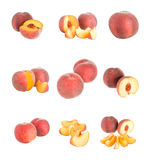 Set Of Peaches Isolated Royalty Free Stock Photos