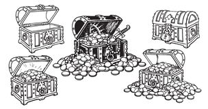 Free Set Of Pirate Treasure Chests In Sketch Style Open And Closed, Empty And Full Of Gold Coins And Jewelry. Hand Drawn Stock Photography - 132099872