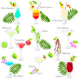 Set Of Popular Summer Cocktails Isolated On White Royalty Free Stock Photos