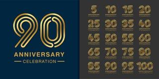 Free Set Of Premium Anniversary Logotype. Golden Anniversary Celebration Emblem Design For Company Profile, Booklet, Leaflet, Magazine Stock Photography - 151516562