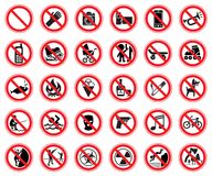 Set Of Prohibiting Signs Royalty Free Stock Photos
