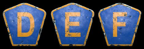 Free Set Of Public Road Signs In Blue And Orange Color With A Capital Letters D, E, F In The Center Isolated Black Background Stock Photos - 192083823