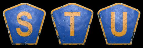 Free Set Of Public Road Signs In Blue And Orange Color With A Capital Letters S, T, U In The Center Isolated Black Background Stock Image - 192083991