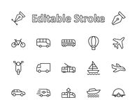 Free Set Of Public Transport Related Vector Line Icons. Contains Such Icons As Bus, Bike, Scooter, Car, Balloon, Truck, Tram Stock Photography - 122964602