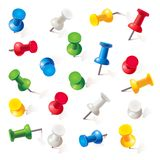 Set Of Push Pins In Different Colors. Thumbtacks Stock Photos