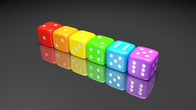 Set Of Rainbow Colored Dices On The Gray Background. Colorful Play Dice With Numbers. Casino Gamble Playing Tool. 3D Render Stock Photo