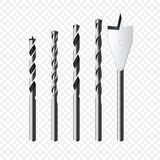 Set Of Realistic Steel Drill Bits. Vector Illustration  On Transparent Background Stock Photos
