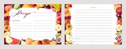 Free Set Of Recipe Card Templates For Making Notes About Preparation Of Food And Cooking Ingredients. Clean Cookbook Pages Stock Photography - 212037292