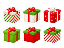 Free Set Of Red And Green Christmas Gift Boxes. Vector Illustration. Royalty Free Stock Photography - 82235017